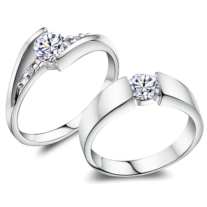 Promise Rings for Couples, 925 Sterling Silver Personalized Engagement Rings with Cubic Zirconia Diamond Accents, Matching Couples Jewelry Set for Him and Her