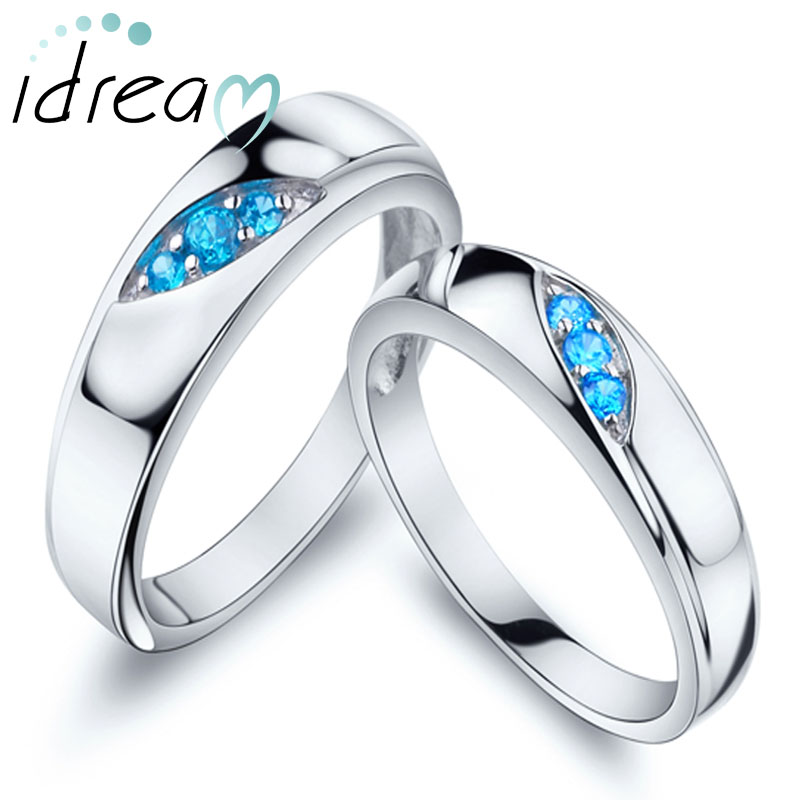Three Stones Promise Rings for Couples, 925 Sterling Silver Engagement Ring Band with Blue Cubic Zirconia Stones, Matching Couple Jewelry Set for Him and Her