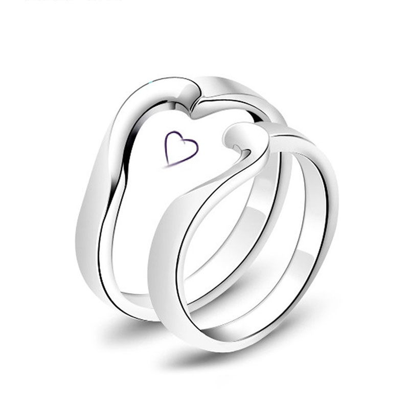 Two Half Hearts Puzzle Promise Rings for Women and Men, Simple Love Heart Ring Band in 925 Sterling Silver, Matching His and Hers Jewelry Set for Couples