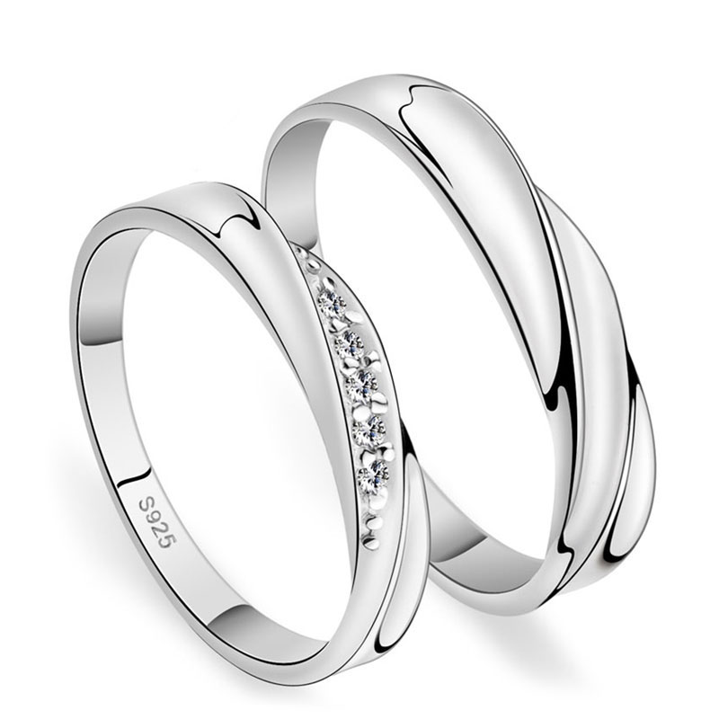 Simple Wave Promise Rings for Couples 925 Sterling Silver Wedding