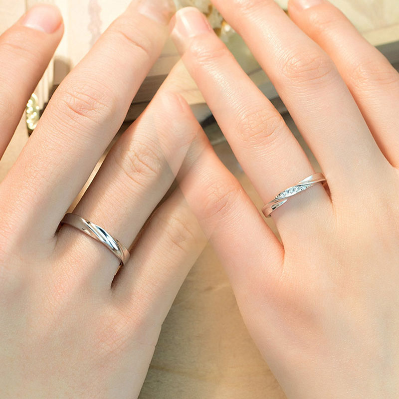 simple wave promise rings for couples 925 sterling silver. Black Bedroom Furniture Sets. Home Design Ideas