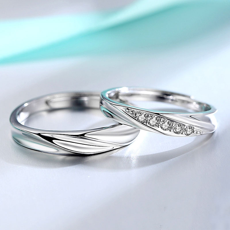 Simple Wave Promise Rings for Couples 925 Sterling Silver Wedding Ring Band