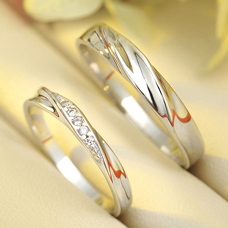simple wave promise rings for couples 925 sterling silver wedding ring band with cubic zirconia diamond accents matching couple jewelry set for him and - Silver Wedding Rings