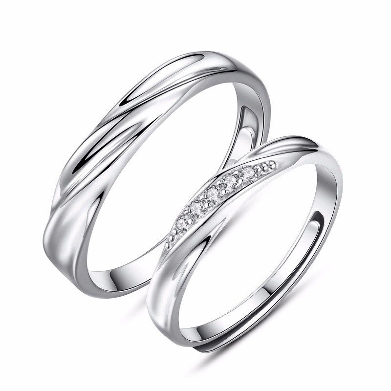 simple wave promise rings for couples 925 sterling silver wedding - Simple Wedding Rings For Her