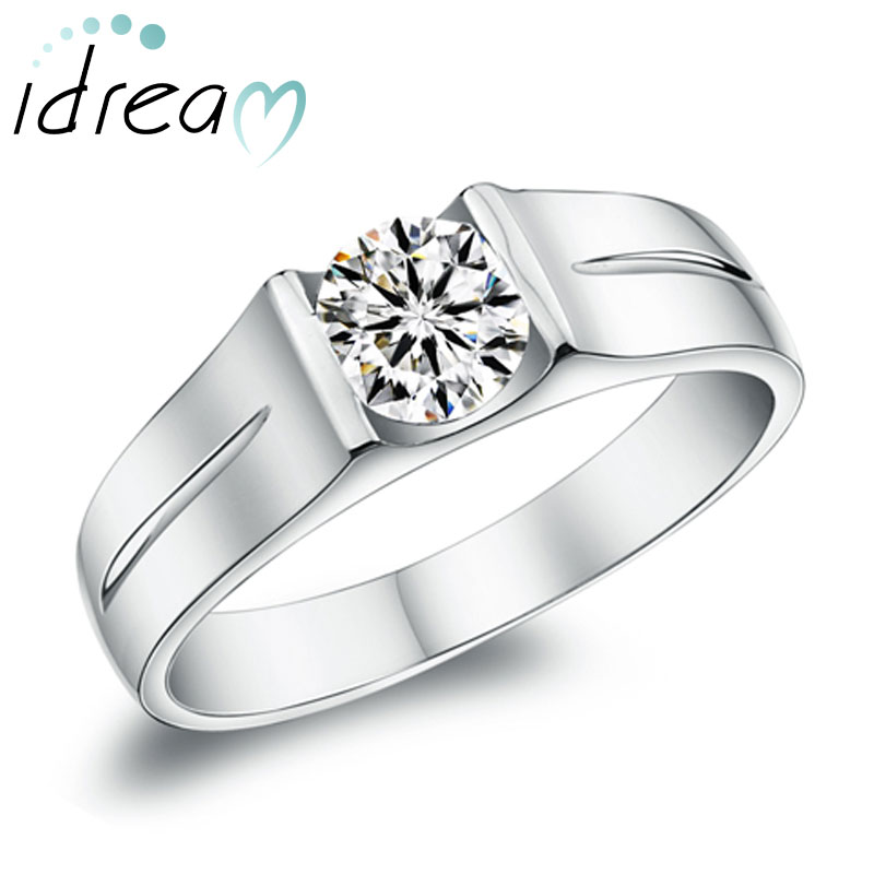 Cubic Zirconia Diamond Engagement Ring For Men 925 Sterling Silver Wedding Band With Groove