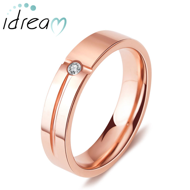 Rose Gold Plated Tungsten Wedding Band, Tungsten Carbide Engagement Ring with Grooves and CZ Diamond - 4mm - 5mm, Matching His and Hers Jewelry Set for Couples