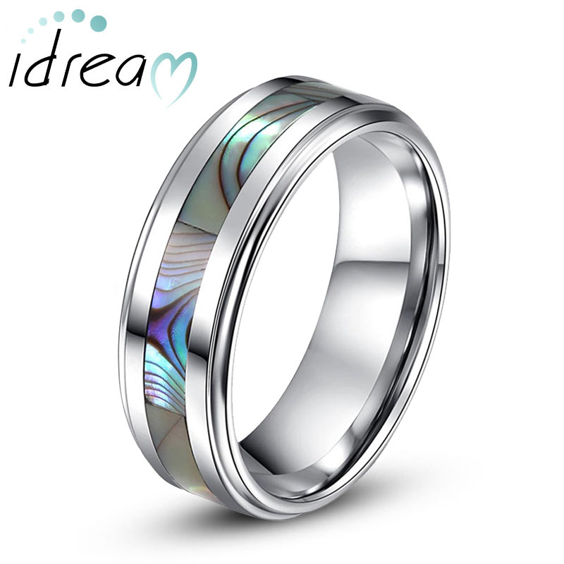 Mother of Pearl Inlay Tungsten Wedding Band Unique Tungsten Carbide
