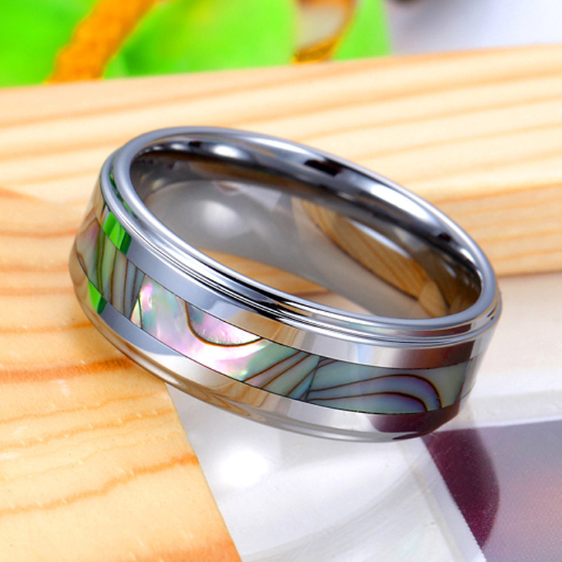 Mother Of Pearl Inlay Tungsten Wedding Band Unique Carbide Ring For Women Or Men