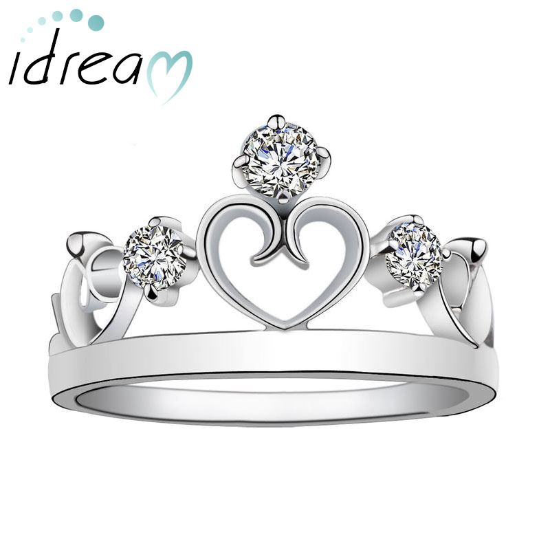 Open Heart + Crown Wedding / Engagement Ring Band for Women, 925 ...