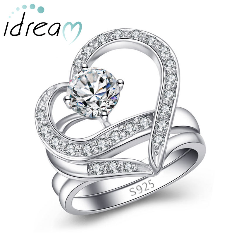 Cubic Zirconia Diamond Open Heart Engagement Rings Set for Women, Unique Love Heart Promise Ring in Sterling Silver, Matching His and Hers Jewelry for Couples