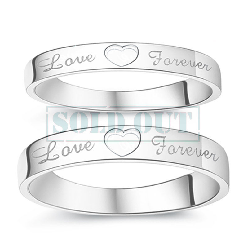 Open Heart + Love Forever Engraved Promise Rings for Couples, Personalized Flat Wedding Ring Band in Sterling Silver, Matching Couple Jewelry Set for Him and Her