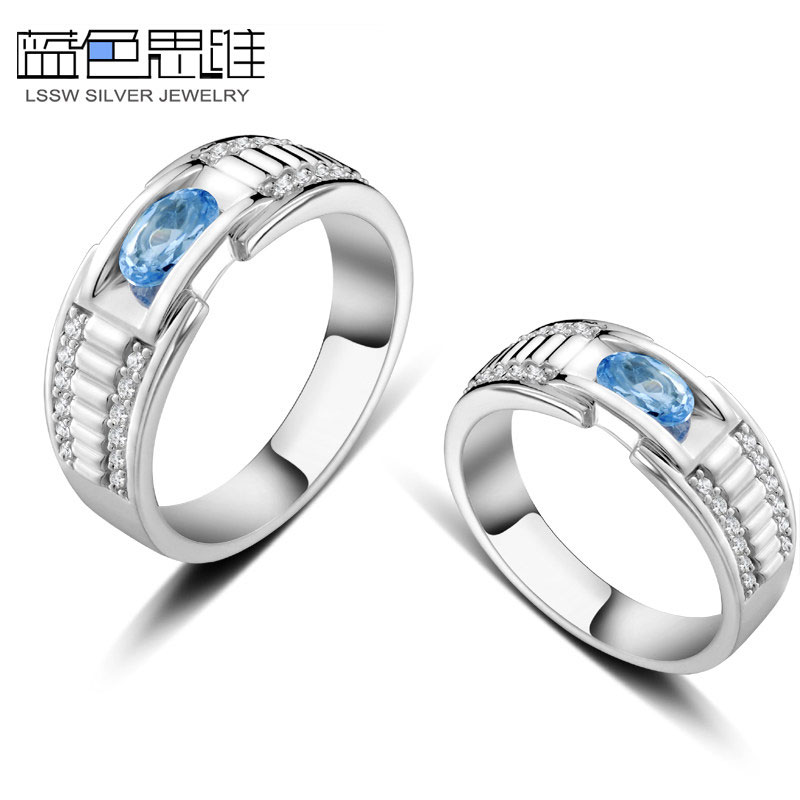 Blue sweet couple rings oval cut blue topaz diamond accent blue sweet couple rings oval cut blue topaz diamond accent wedding rings set junglespirit Images