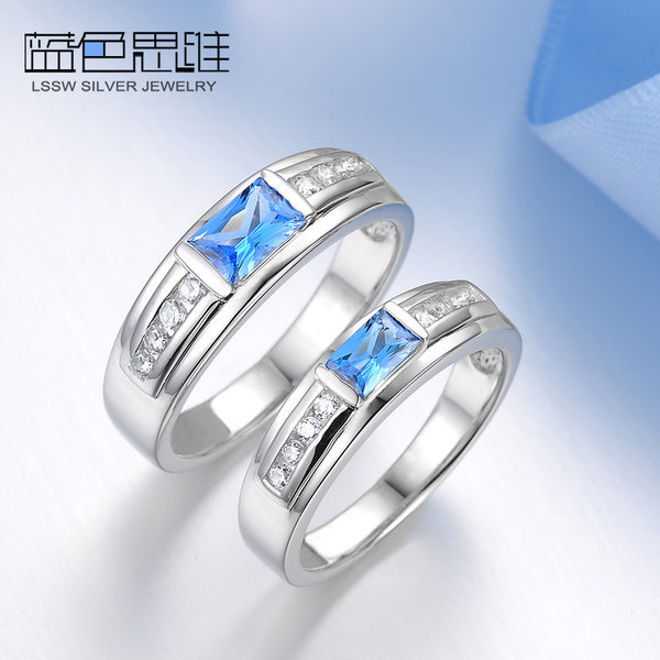Blue Sweet Couple Rings Princess Cut Blue Topaz Promise Rings