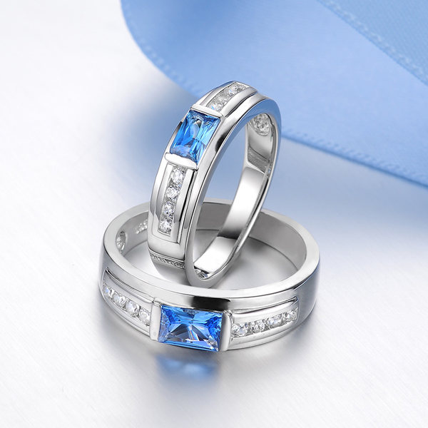 blue sweet couple rings princess cut blue topaz promise rings sterling silver crystal wedding rings with diamond matching his and hers jewelry set for - Crystal Wedding Rings