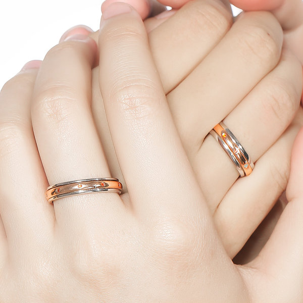 Silver Age Couples Rings Rose Gold Spinner Rings Set with Red