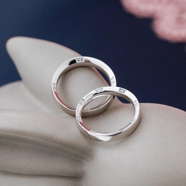 Silver Age Couples Rings Roman Numerals Engraved Wedding Bands Set