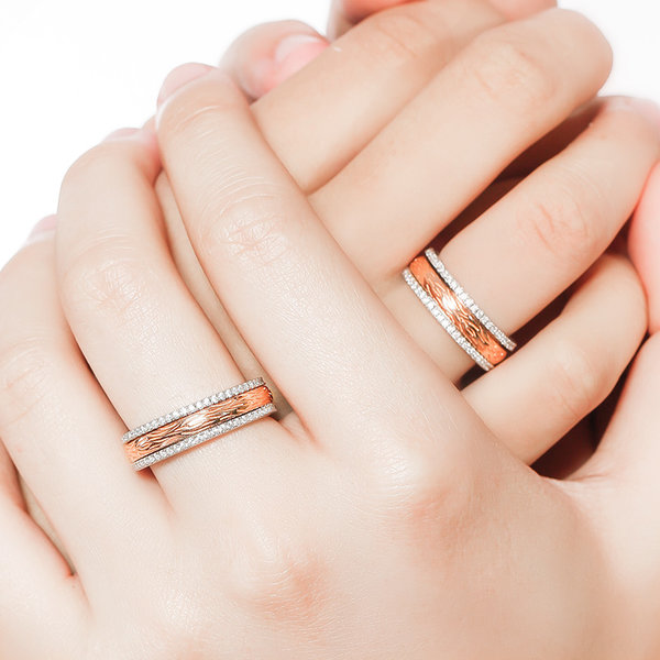 Silver Age Couples Rings Rose Gold Spinner Wedding Bands with