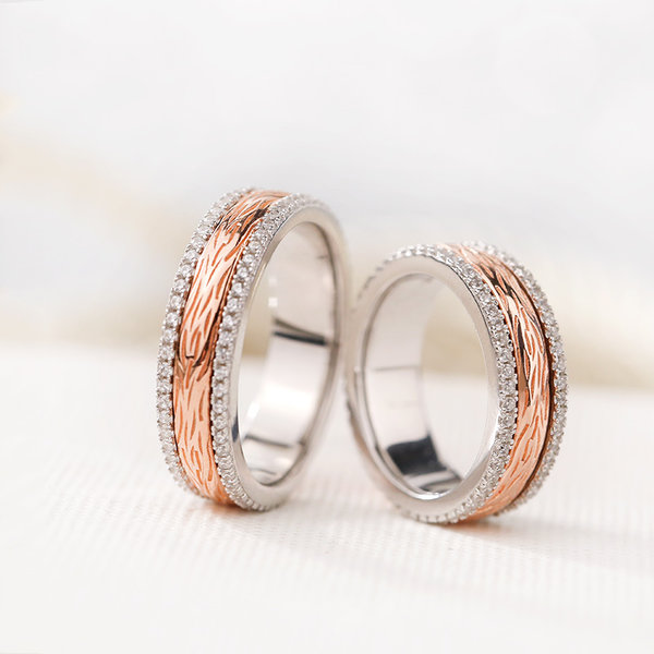 Silver Age S Rings Rose Gold Spinner Wedding Bands With Diamond Accents Unique Promise