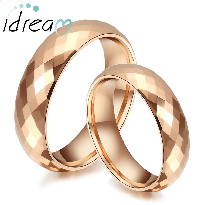 Rose Gold Plated Tungsten Wedding Bands Set Domed Faceted