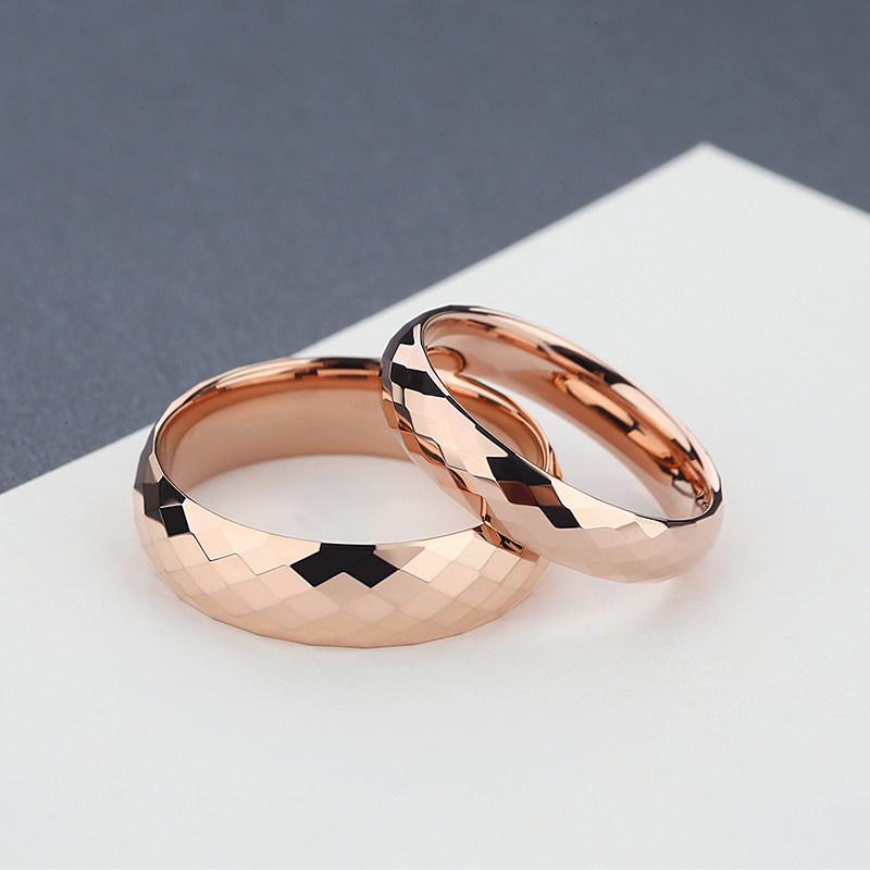 Rose Gold Plated Tungsten Wedding Bands Set Domed Faceted Carbide Rings For Women And Men