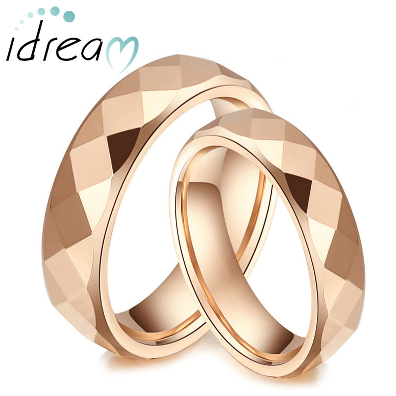 Rose Gold Plated Tungsten Wedding Bands Set for Women and Men