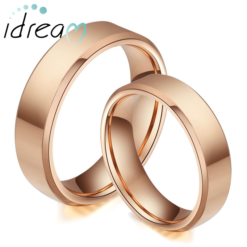 Rose Gold Plated Tungsten Wedding Bands Set Flat Beveled Edge Carbide Rings