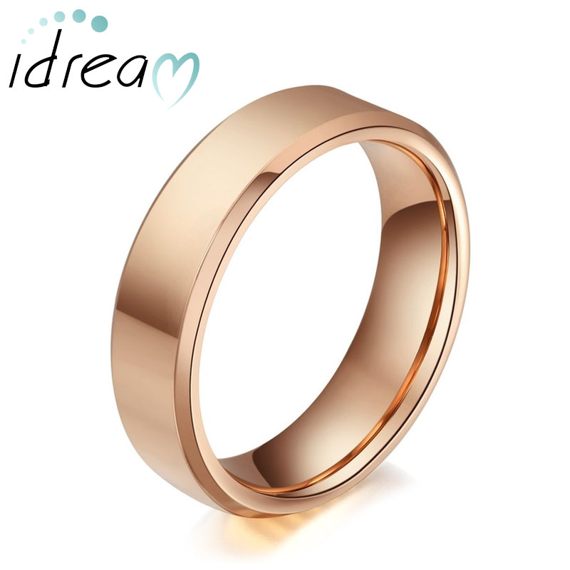 Rose Gold Plated Tungsten Wedding Bands, Polished Tungsten Carbide Wedding Band with Beveled Edges, Personalized Ring for Women - 4mm - 6mm, Matching Jewelry Set for Couples