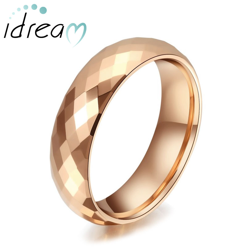 Rose Gold Plated Tungsten Wedding Bands, Faceted Finish Tungsten Carbide Wedding  Ring Band With Domed