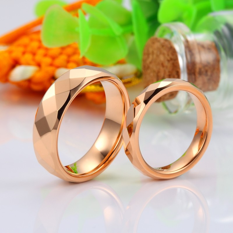 Rose Gold Plated Tungsten Wedding Bands Faceted Finish Carbide Ring Band With Domed Profile