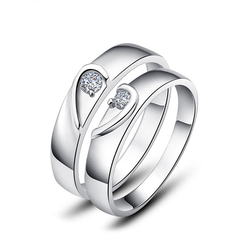 Two Half Hearts Puzzle Promise Rings Set for Women and Men 925
