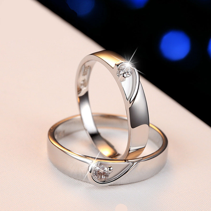 Two Half Hearts Puzzle Promise Rings Set for Women and Men 925 Sterling Silv