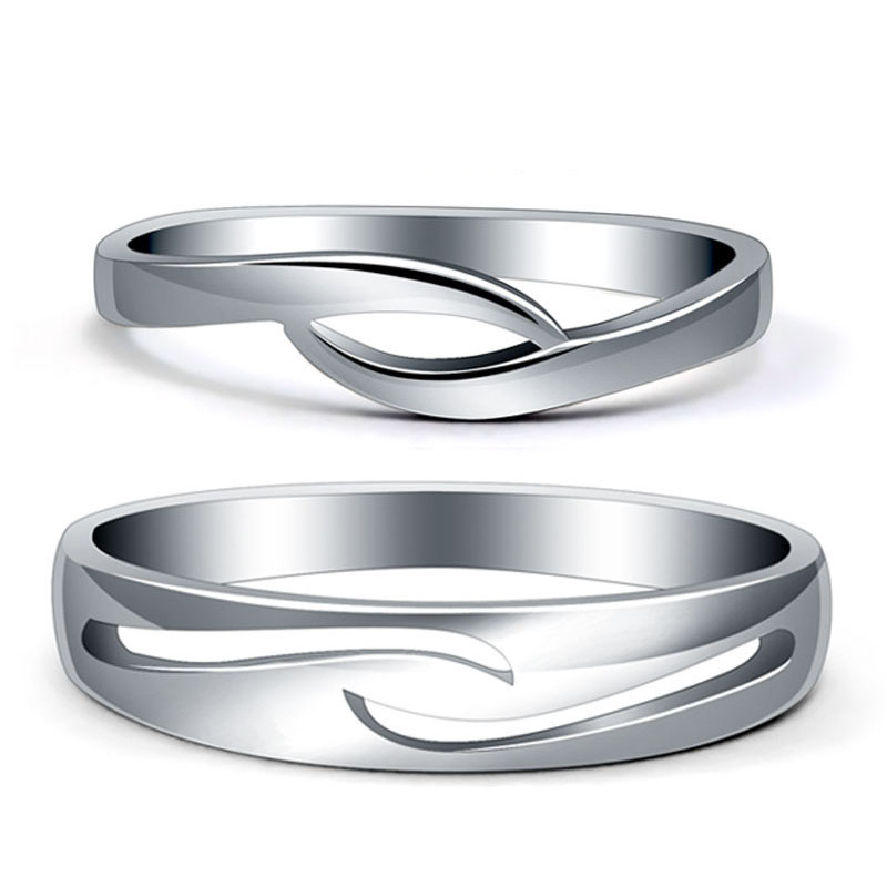 Simple Wave Couple Promise Rings Set for Women and Men, Unique Infinity Wedding Ring Band in 925 Sterling Silver, Matching His and Hers Jewelry for Couples