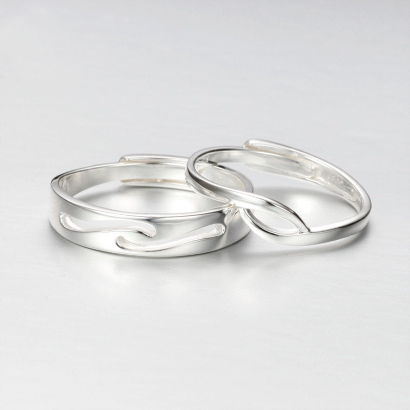 Simple Wave Couple Promise Rings Set For Women And Men Unique