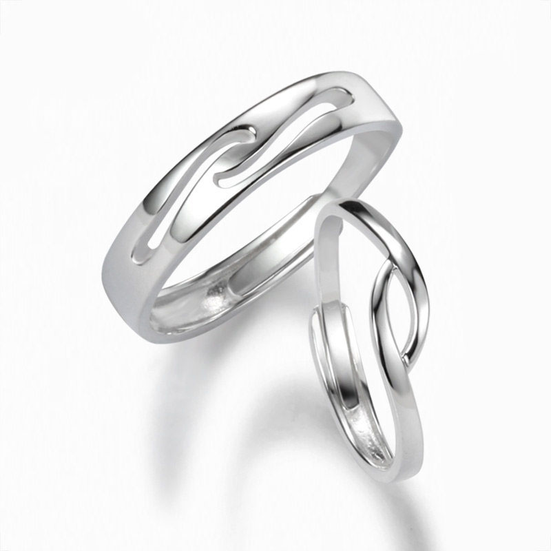 Simple Wave Couple Promise Rings Set For Women And Men Unique