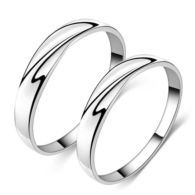 Simple Wave Promise Rings for Couples Personalized Polished Wedding Ring Ban