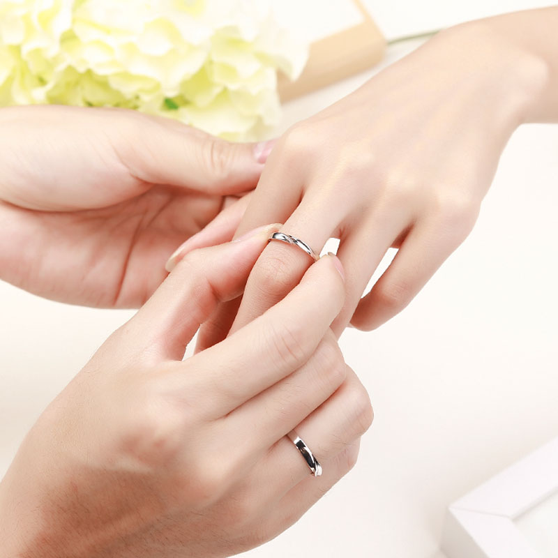 simple wave promise rings for couples personalized polished - Simple Wedding Ring Sets