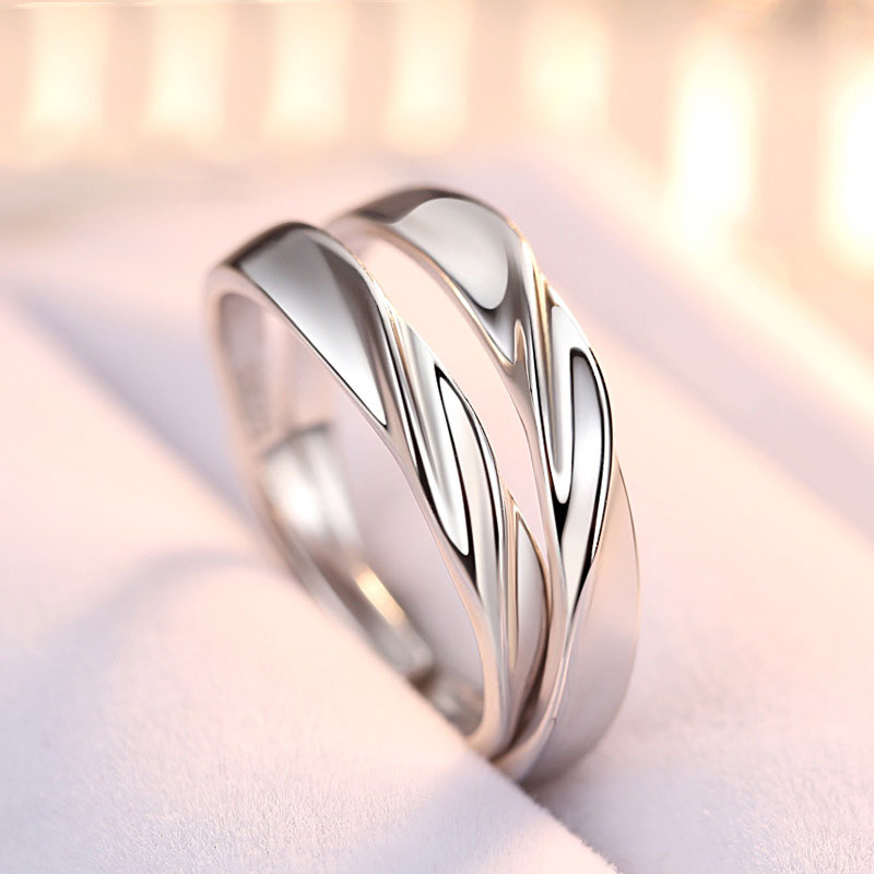 simple wave promise rings for couples personalized polished wedding ring band in 925 sterling silver matching couple jewelry set for him and her - Wedding Rings For Him And Her