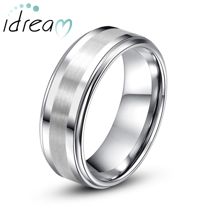 Step-Edge Tungsten Wedding Band, White Tungsten Carbide Wedding Ring Band with Raised Brushed Center - 6mm - 8mm, Matching Couple Jewelry Set for Him and Her