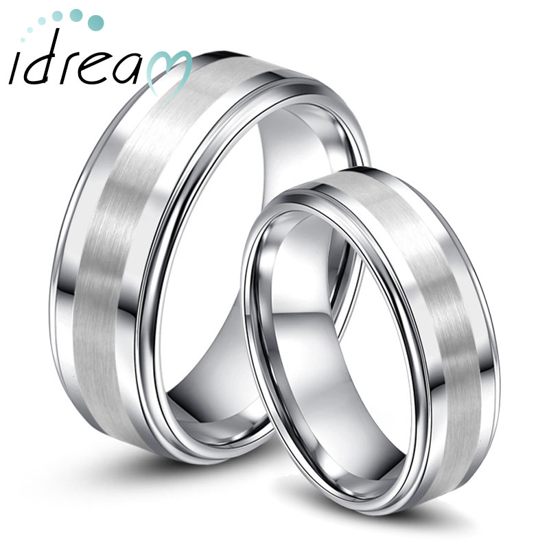 Step-Edge Tungsten Wedding Bands Set for Women & Men, Tungsten Carbide Wedding Ring with Brushed Center - 6mm - 8mm, Matching His and Hers Jewelry for Couples
