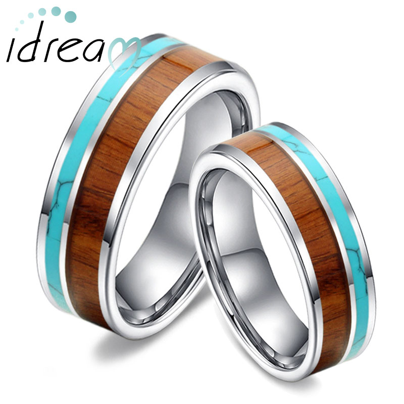 Koa Wood and Turquoise Inlaid Tungsten Wedding Bands Unique