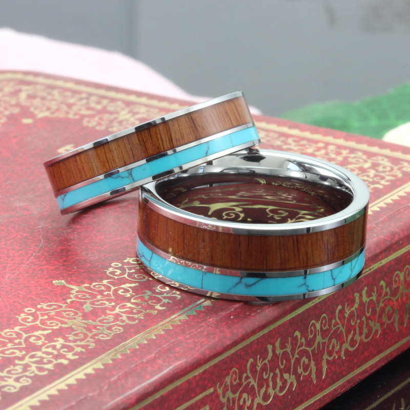Koa Wood And Turquoise Inlaid Tungsten Wedding Bands