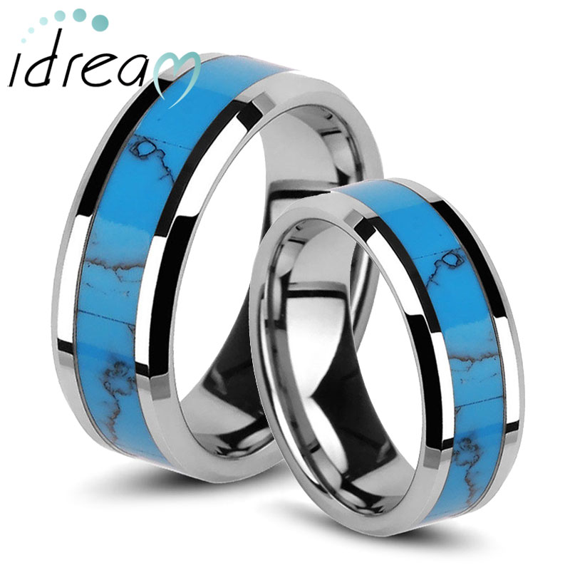 Turquoise Inlaied Tungsten Wedding Bands Set for Men and Women, Unique Tungsten Carbide Wedding Ring Band - 6mm - 8mm, Matching His and Hers Jewelry for Couples