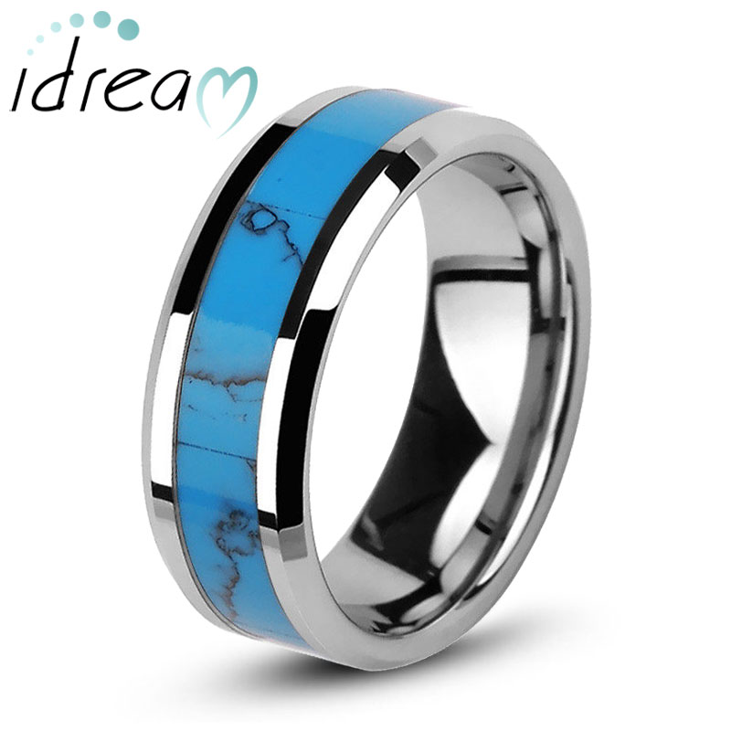 Turquoise Inlay Tungsten Wedding Band, Unique Natural Gemstone Tungsten Carbide Wedding Ring Band - 6mm - 8mm, Matching Couples Jewelry Set for Him and Her