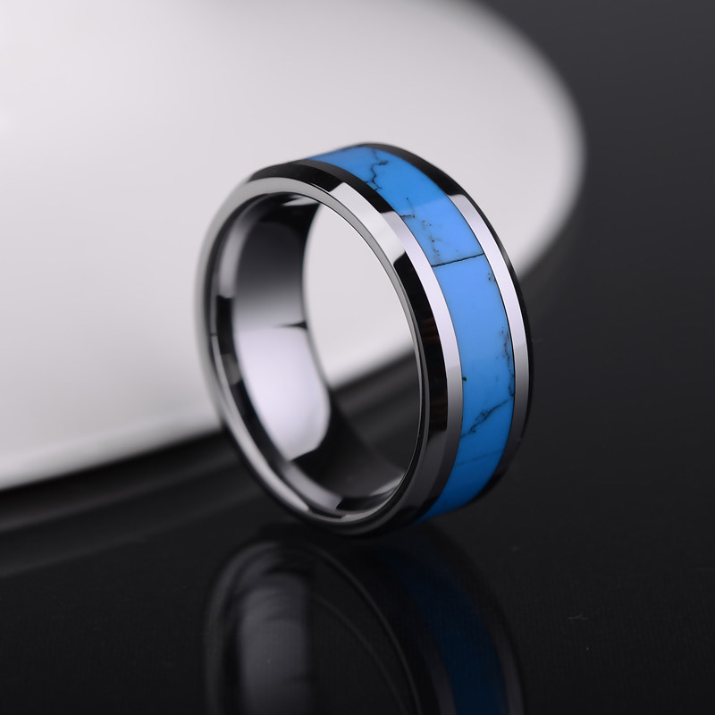 turquoise inlay tungsten wedding band unique natural gemstone tungsten carbide wedding ring band 6mm 8mm matching couples jewelry set for him and her - Tungsten Carbide Wedding Rings