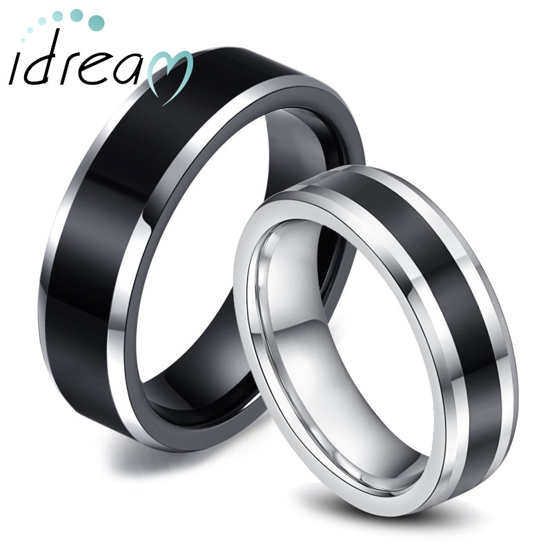 two tone tungsten wedding bands set for women men white black beveled - Tungsten Wedding Rings