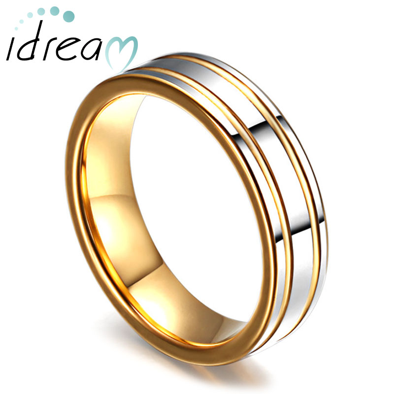 two tone tungsten wedding bands gold plated tungsten carbide wedding ring band with polished - Two Tone Wedding Rings
