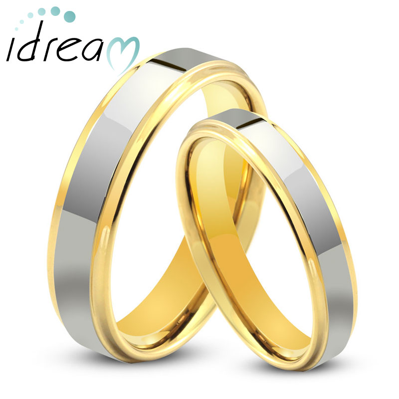 Two-Tone Tungsten Wedding Bands Set, Step-Edge Gold Tungsten