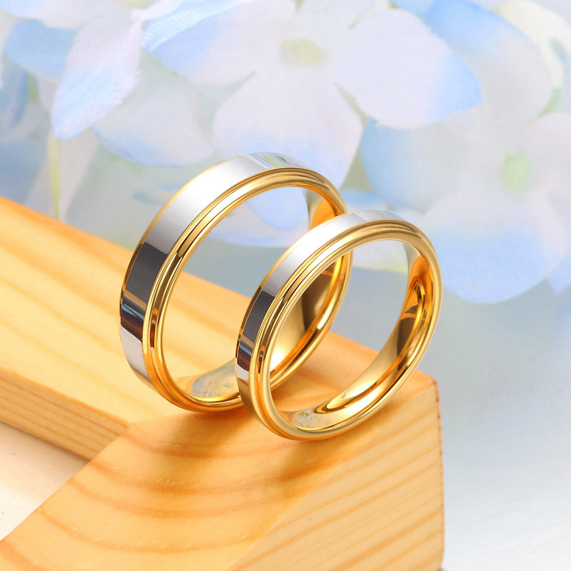 Two Tone Tungsten Wedding Bands Set Step Edge Gold Carbide Ring