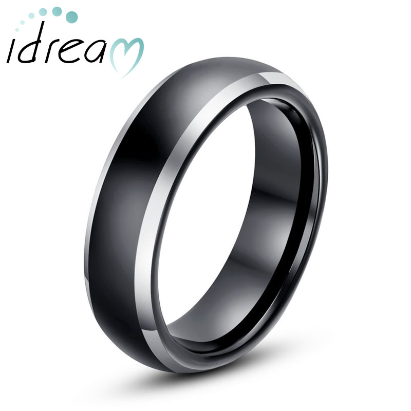 Two Tone Tungsten Wedding Bands Domed Black Gold Carbide Ring Band
