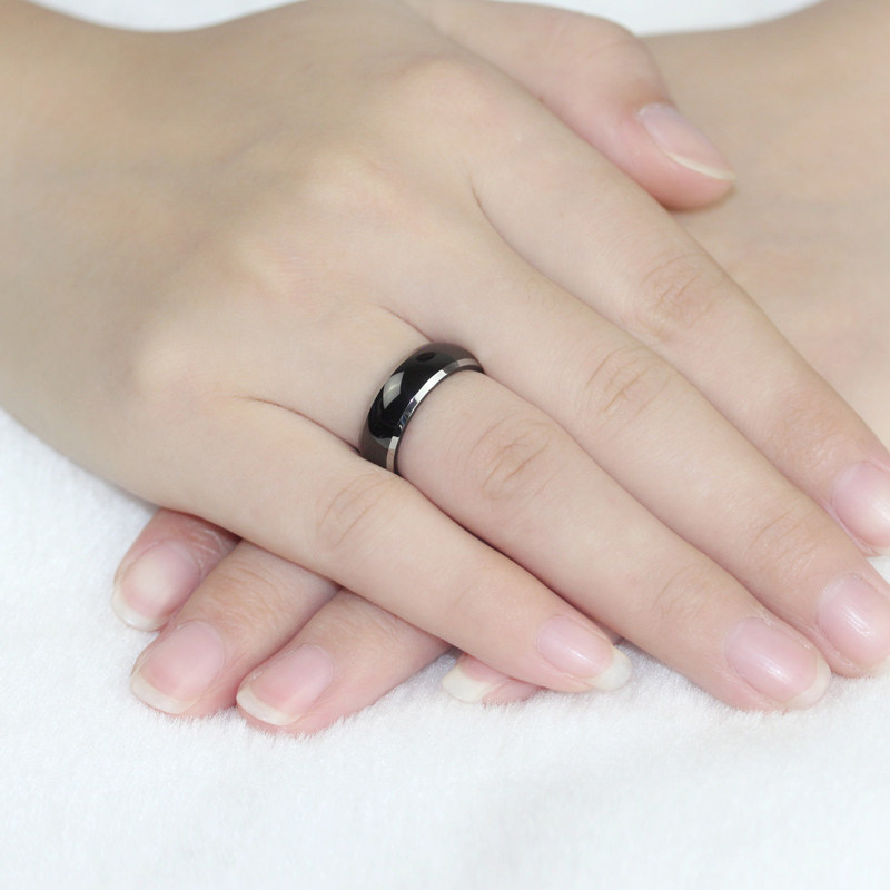 TwoTone Tungsten Wedding Bands Domed Black Gold Tungsten Carbide